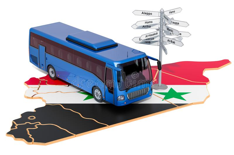 Syria Bus Tours concept. 3D rendering. Isolated on white background stock illustration