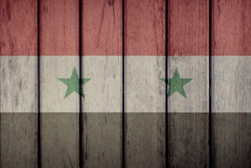 Syria Flag Wooden Fence. Syria Politics News Concept: Syrian Flag Wooden Fence stock illustration
