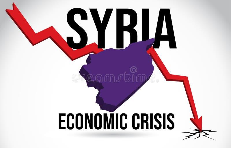 Syria Map Financial Crisis Economic Collapse Market Crash Global Meltdown Vector. Illustration royalty free illustration