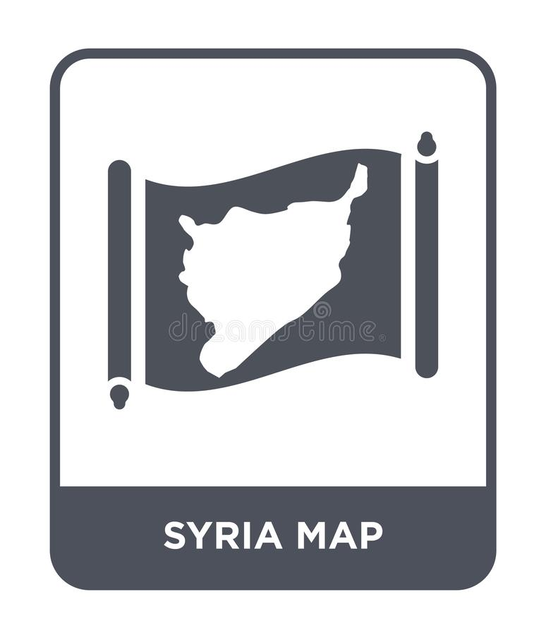 Syria map icon in trendy design style. syria map icon isolated on white background. syria map vector icon simple and modern flat. Symbol for web site, mobile stock illustration