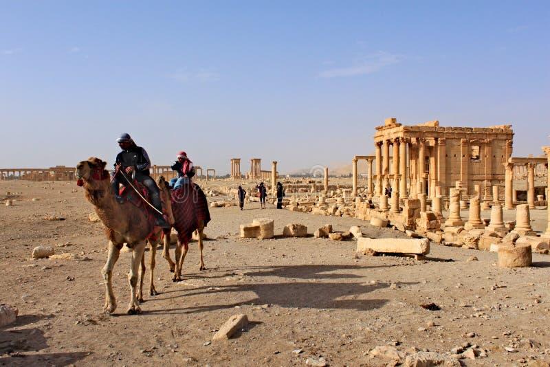 Syria, Palmyra; Luty 25, 2011 - świątynia baal w antycznym Semickim mieście Palmyra króko przedtem wojna, 2011 zdjęcie stock