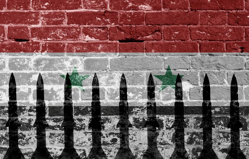 Syria rockets two. Syria flag and rocket in military conflict royalty free stock images