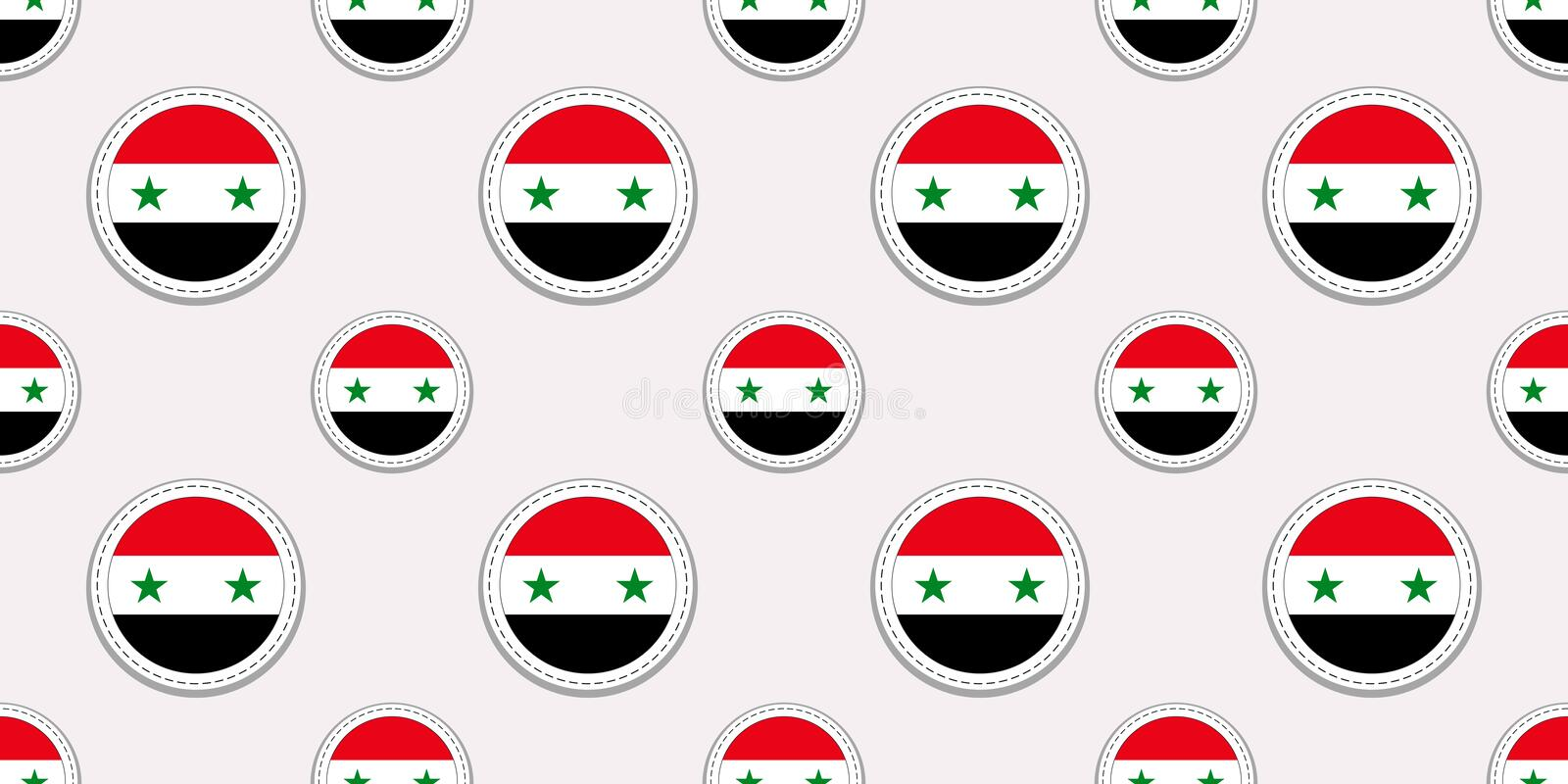 Syria round flag seamless pattern. Syrian background. Vector circle icons. Geometric symbols stickers. Texture for vector illustration
