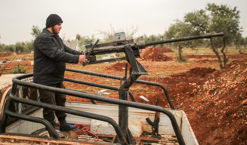 Syria: Shiite fighters stock photos