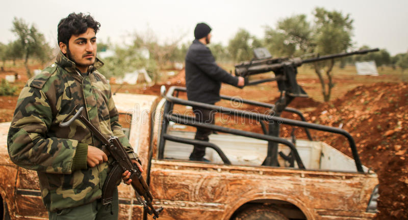 Syria: Shiite fighters royalty free stock image