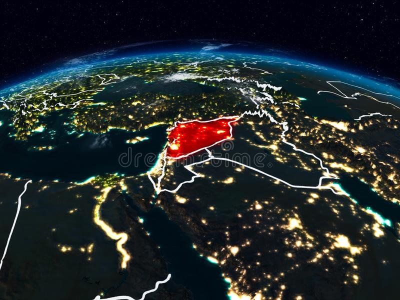 Syria at night. Syria from space at night on Earth with visible country borders. 3D illustration. Elements of this image furnished by NASA royalty free stock photo