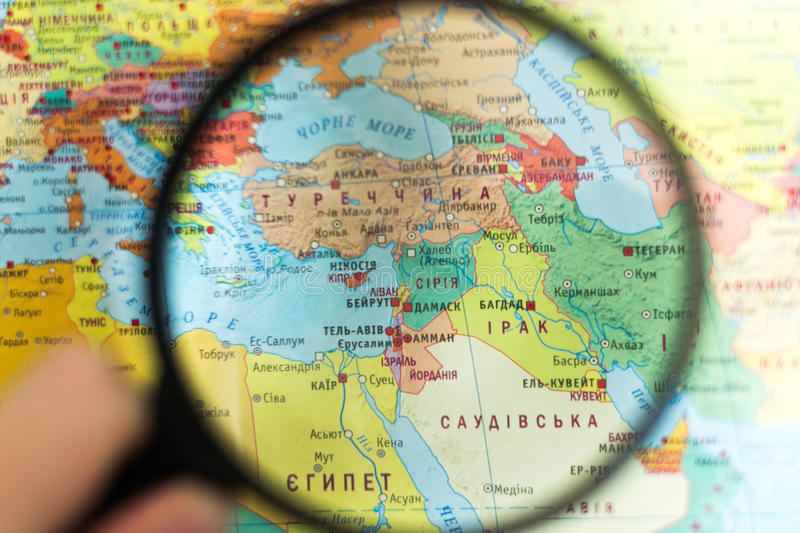 Syria on the world map with a magnifying glass stock photo image download syria on the world map with a magnifying glass stock photo image of close gumiabroncs Gallery