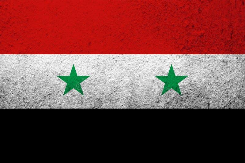 The Syrian Arab Republic National flag . Grunge background royalty free stock photo