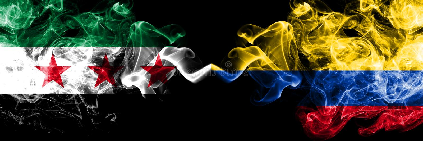 Syrian Arab Republic vs Colombia, Colombian smoke flags placed side by side. Thick colored silky smoke flags of Syria opposition. And Colombia, Colombian royalty free illustration