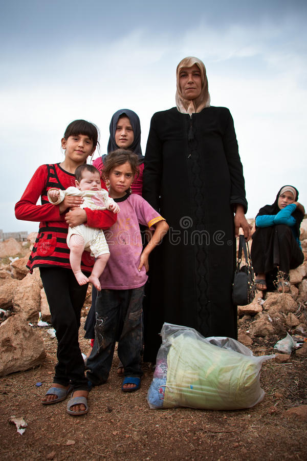 Syrian refugee family. stock image
