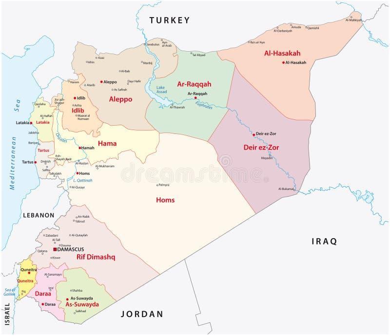 Syrien administrativ översikt stock illustrationer
