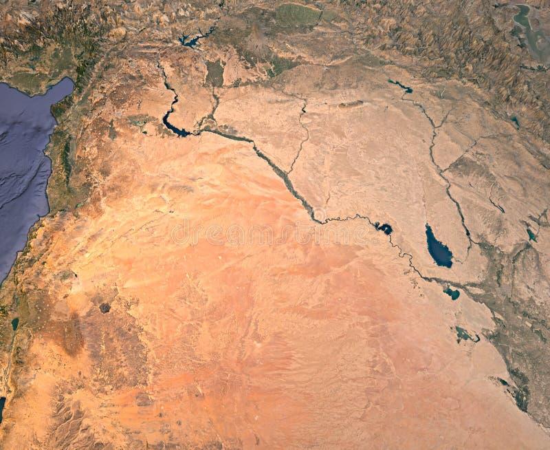 Syrien en Irak, satellit- sikt, översikt, 3d tolkning, land, mellersta öst arkivfoto