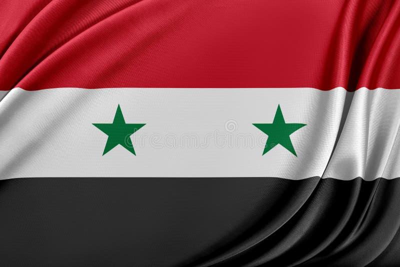 Syrien flagga med en glansig siden- textur royaltyfri illustrationer