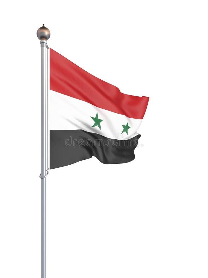 Syrien flagga som bl?ser i vinden f?nster f?r textur f?r bakgrundsdetalj tr?gammalt tolkning 3d; v?g Isolerat p? vit illustration vektor illustrationer
