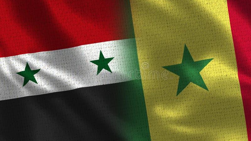 Syrien und Senegal - Flagge zwei zusammen - Gewebe-Beschaffenheit lizenzfreie stockfotos