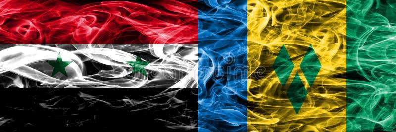 Syrien vs Saint Vincent och Grenadinerna rökflaggor förlade sid stock illustrationer