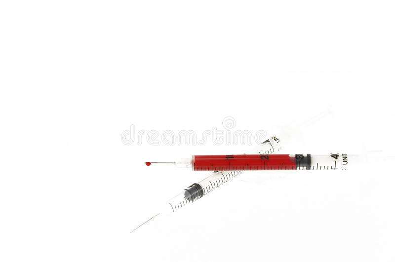 Download Syringe with blood stock photo. Image of perscription - 12682444