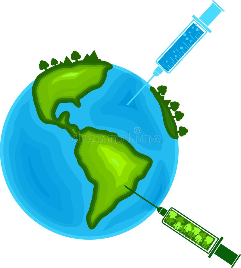 Syringe cure the world fill nature environment better healthy life isolated white background. Syringe cure the world fill nature environment tree water soil for royalty free illustration