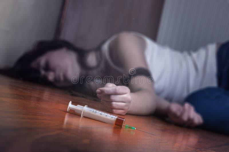 Syringe with drugs stock photo