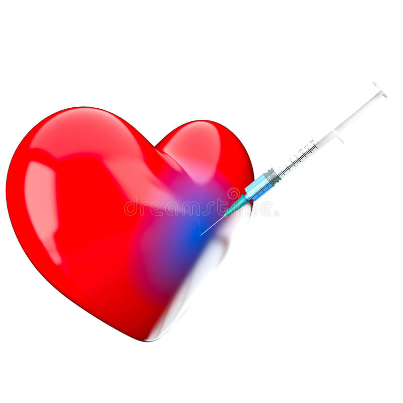 Download Syringe is in a heart stock illustration. Image of mentality - 23552350