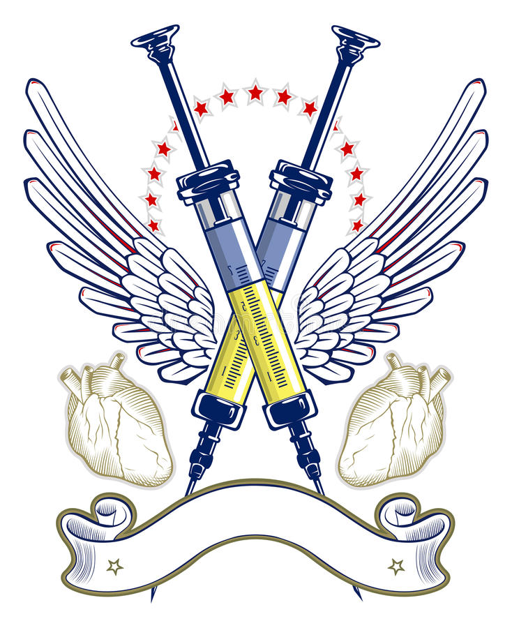 Download Syringe And Heart Wing Emblem Stock Vector - Image: 20798420