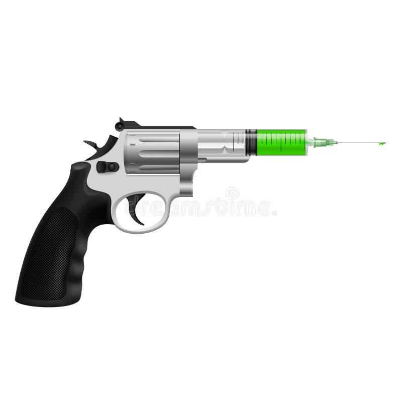 Syringe in revolver. Syringe with green liquid in revolver. Killing injection, medicine or drug vector illustration