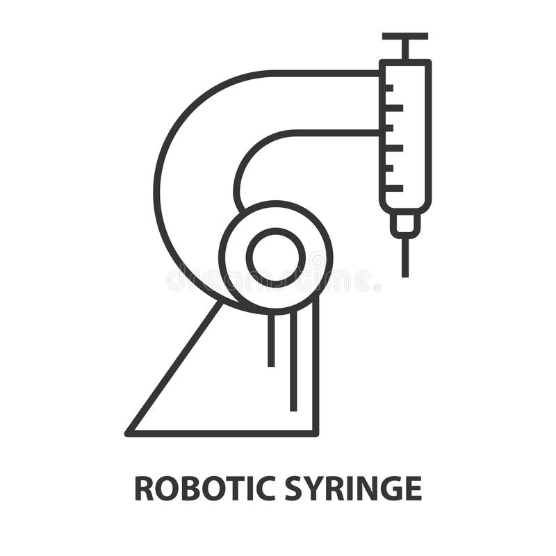 Syringe for Robotic surgery. In linear style. Robotic assisted surgery future linear design element. Vector illustration stock illustration