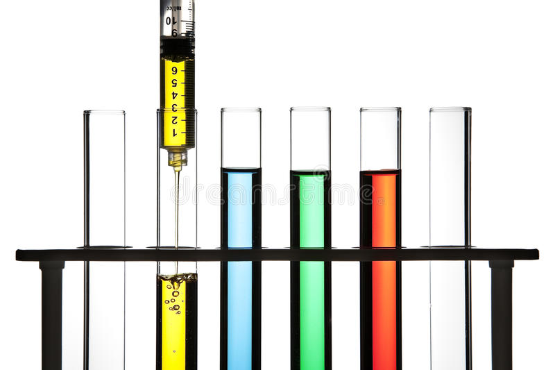 Download Syringe and test tubes stock photo. Image of holder, development - 16880236