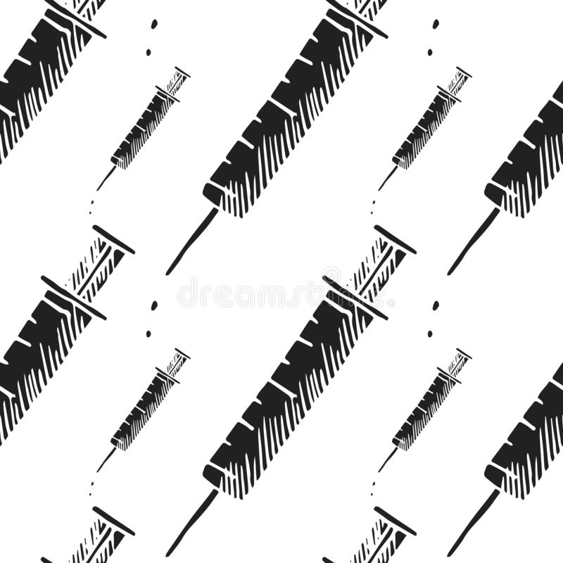 Syringe vector seamless pattern royalty free stock image