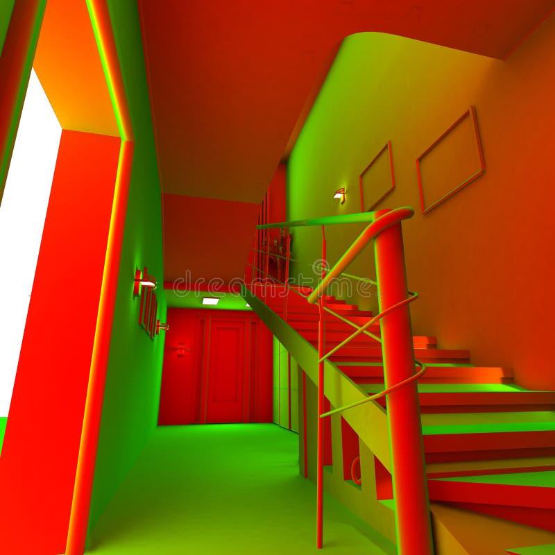 syrlig interior för lägenhet 3d royaltyfri illustrationer