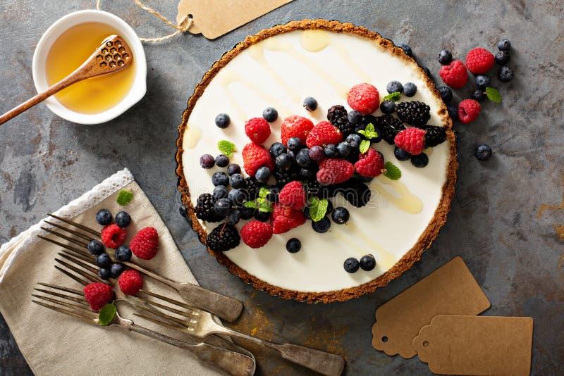 Syrliga sommarbär och grekisk yoghurt arkivfoton