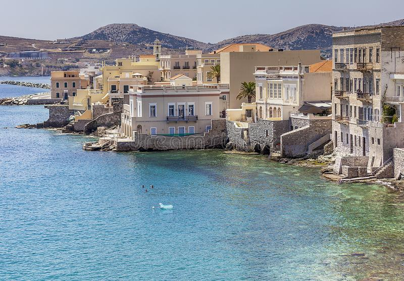 Syros ö i Grekland Landscape beskådar arkivfoton