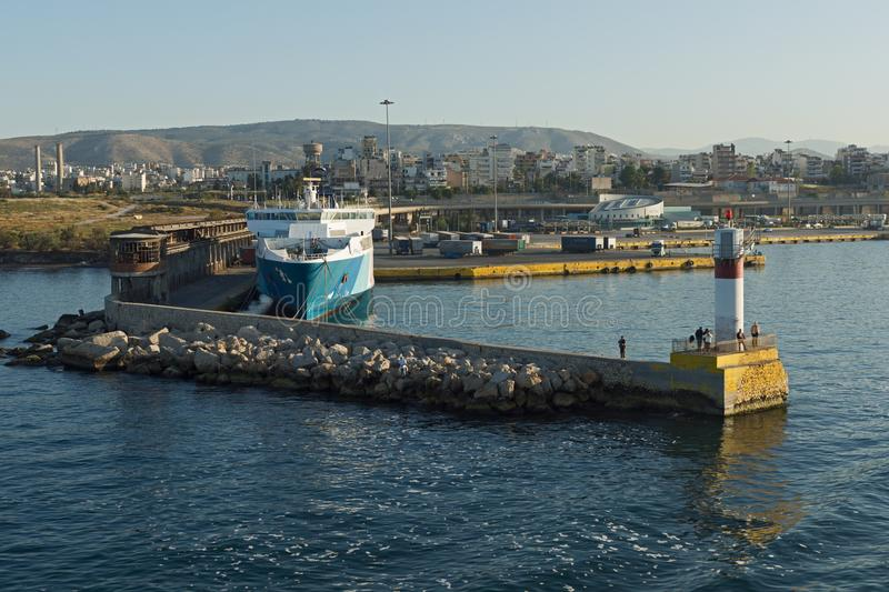 Port of city of Piraeus, Athens, Attica, Greece royalty free stock images