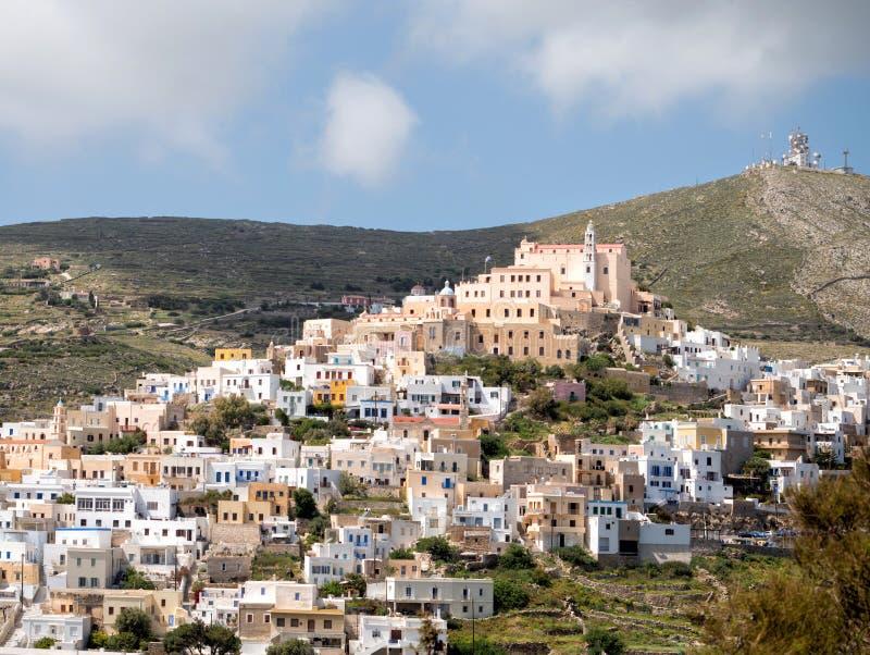 Syros stad i en solig dag royaltyfri fotografi