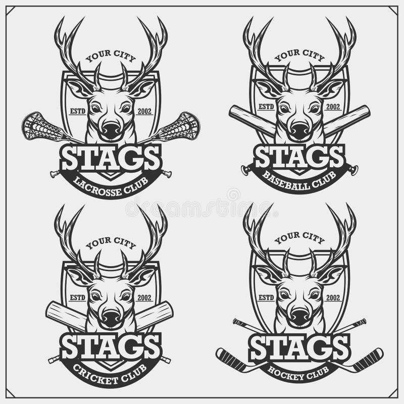 Syrsa, baseball, lacrosse och hockeylogoer och etiketter Emblem för sportklubba med hjortar eller fullvuxna hankronhjorten Tryckd royaltyfri illustrationer