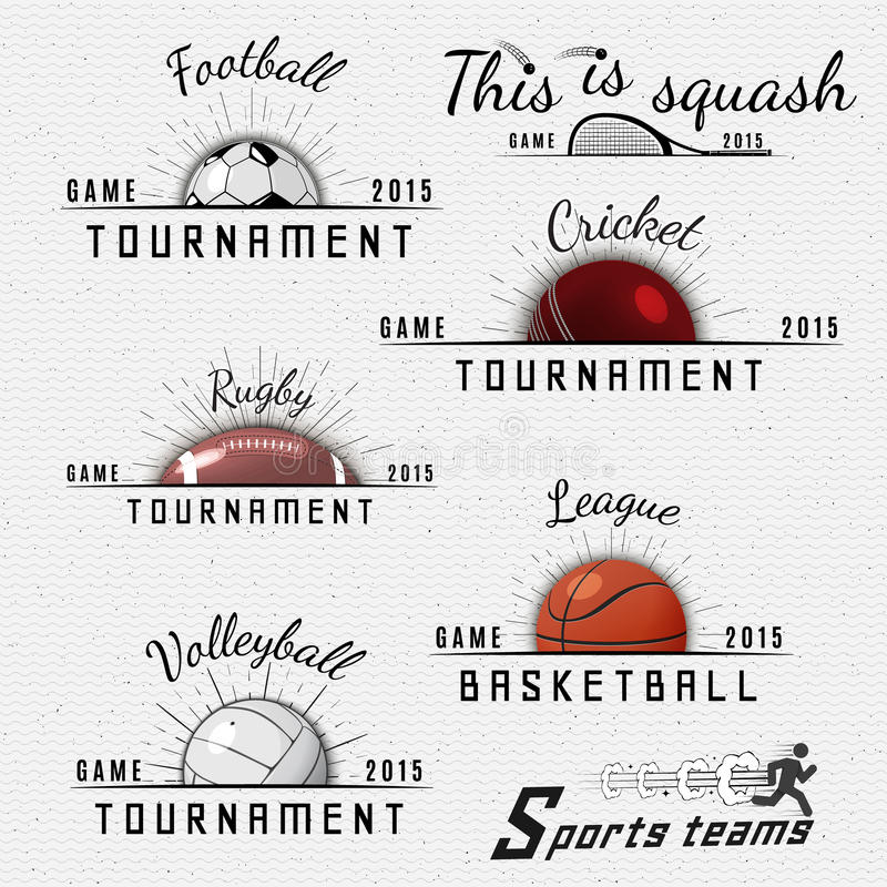 Syrsa volleyboll, fotboll, basket, squash royaltyfri illustrationer