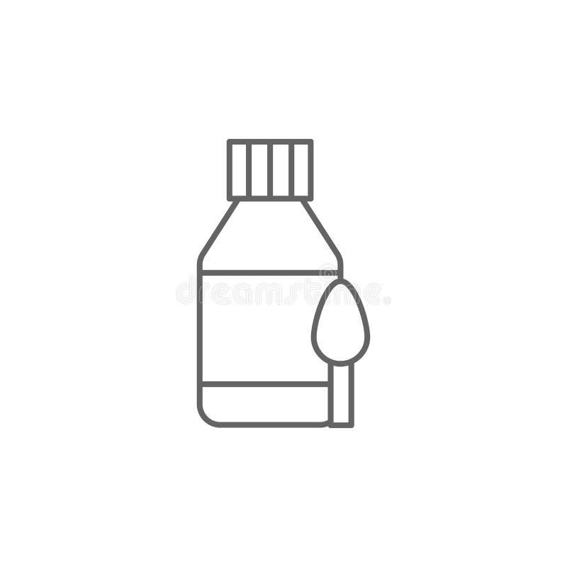 Syrup, drugspictogram Pictogram van het geneesmiddel Thin line pictogram vector illustratie