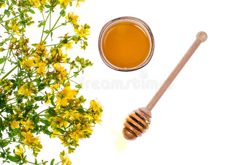 Syrup and honey from medicinal plants. Studio Photo royalty free stock photography