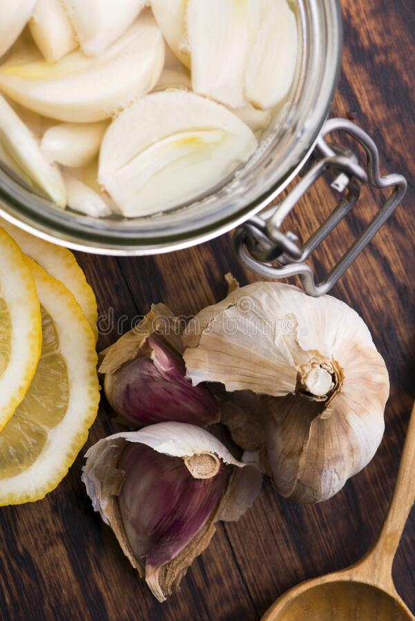 Syrup prepared from healthy garlic royalty free stock photos