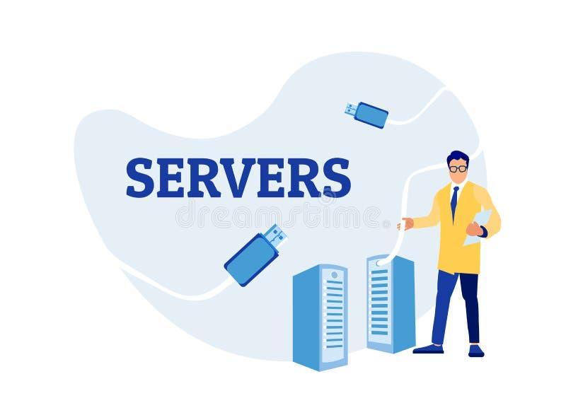 Sysadmin人工程师与服务器机架一起使用 库存例证