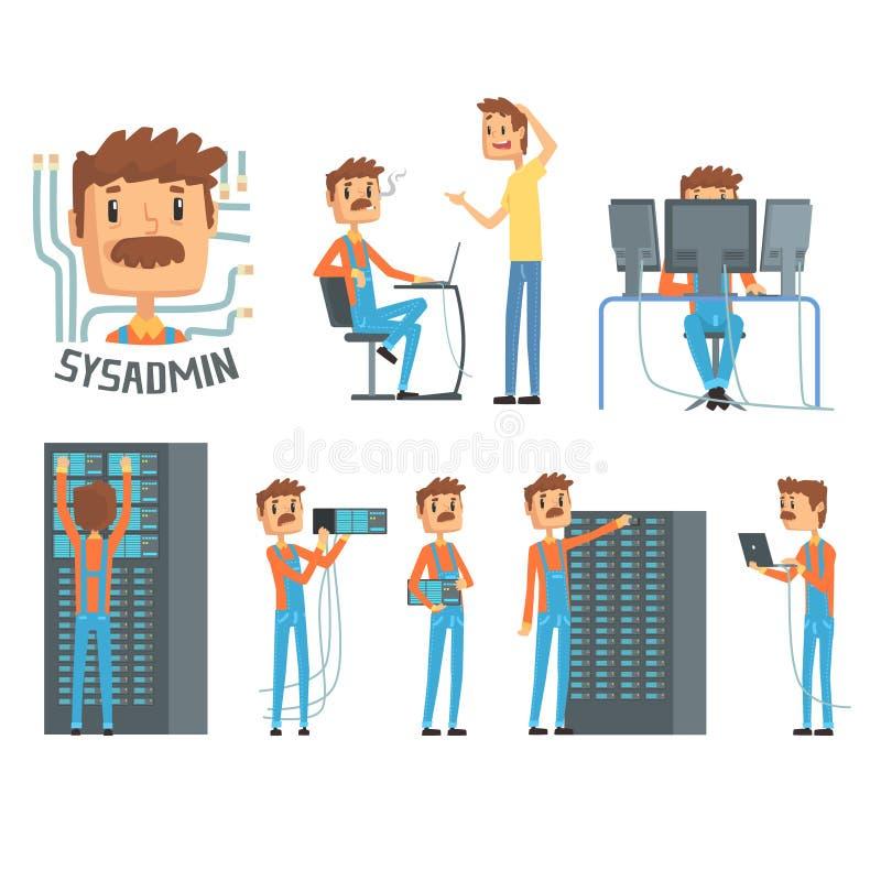 Sysadmin, caractères d'ingénieur de réseau, ensemble de diagnostics de réseau, assistance aux utilisateurs et vecteur de bande de illustration stock