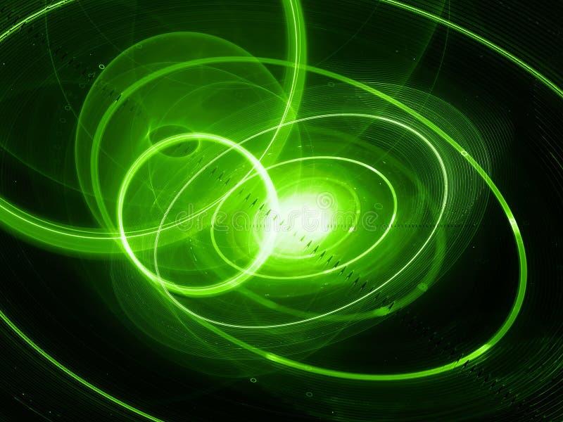 Sysem planetário exosolar de incandescência verde com trajetórias do planeta ilustração stock