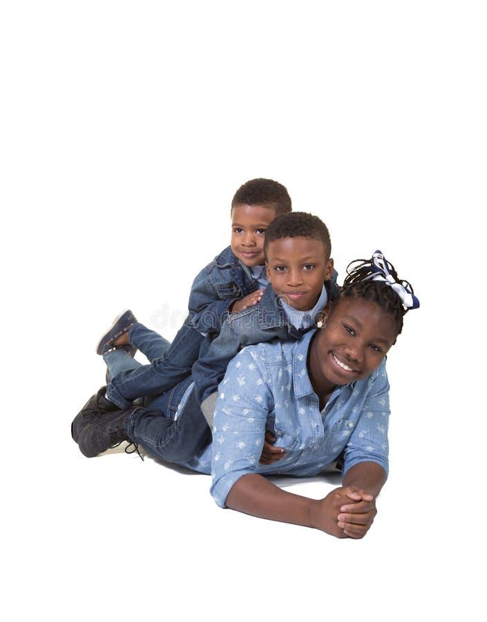 3 syskon royaltyfri foto