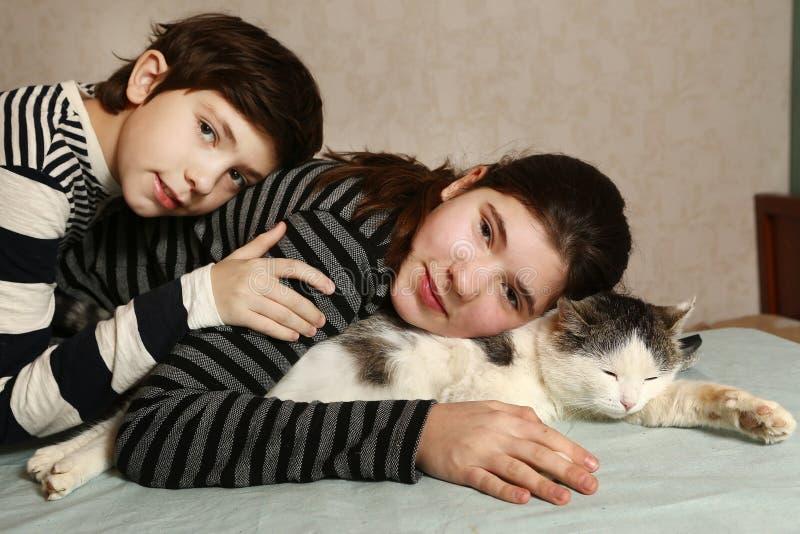 Syskon pojke och flicka med det siberian kattslutet upp arkivfoto