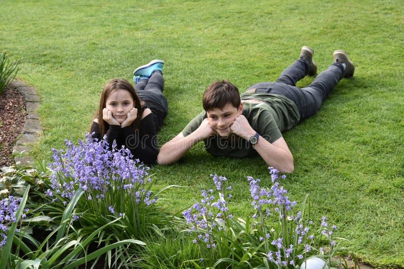 Syskon som kopplar av i trädgård royaltyfri foto