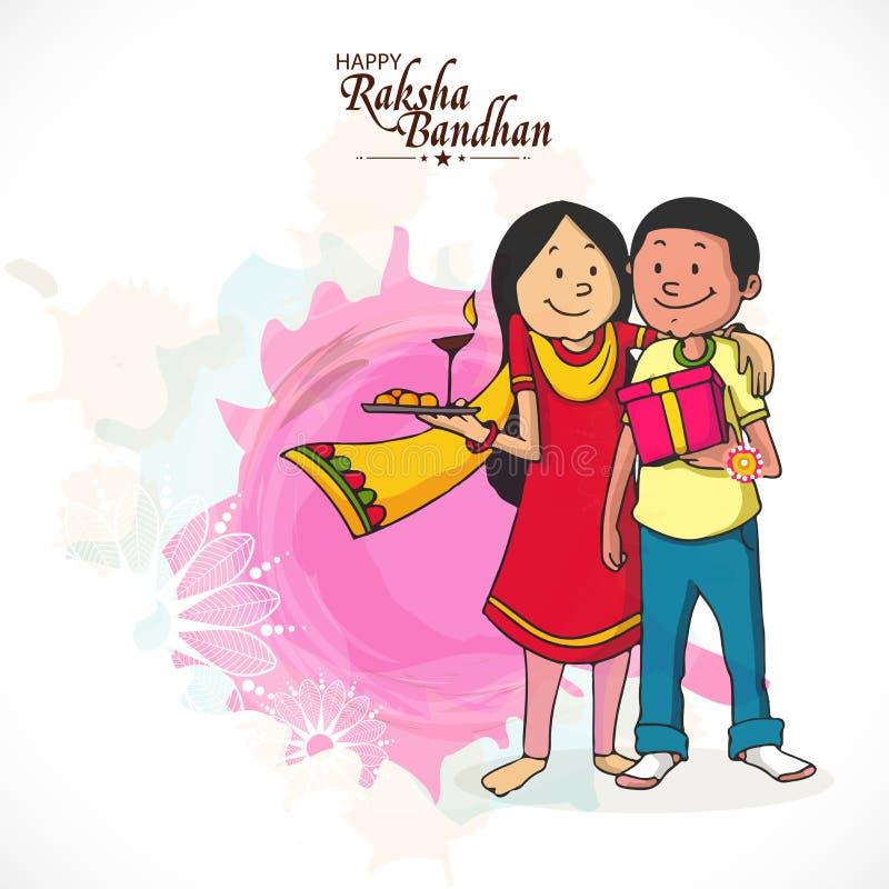 Syskongrupp som firar Raksha Bandhan royaltyfri illustrationer