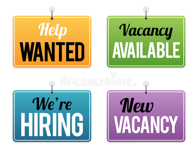 Sysselsättningstillfälletecken stock illustrationer