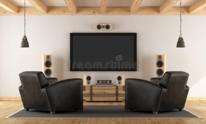 Système à la maison de cinéma avec des meubles de vintage illustration de vecteur