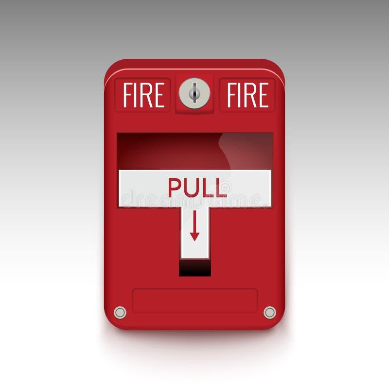 Système d'alarme d'incendie Tirez la boîte de sécurité incendie de danger Détecteur rouge de coffre-fort de détecteur d'équipemen illustration stock