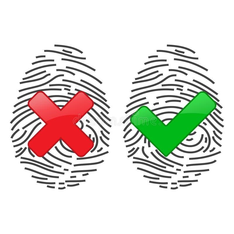 Système d'identification de balayage d'empreinte digitale Concept biométrique de sécurité d'autorisation et d'affaires illustration stock